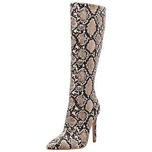 Fainosmny Women Snakeskin Boots